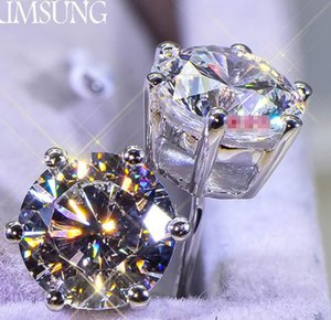 4 CT Sólido Plata de Ley 925 Aniversario de Bodas SONA Moissanite Diamante Stud Pendiente Banda de Compromiso Joyería de Moda Mujeres Envío de la gota