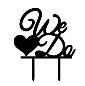 Noir nous vous aimons Mme Mme Cake Topper Mr Cake Drapeaux Pour Mariage Anniversaire Fête Décor