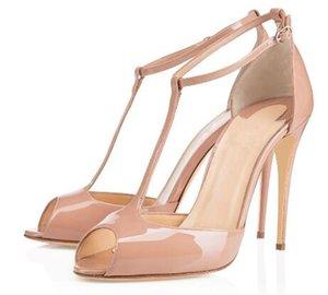 2019 nouvelles femmes à la main de mode Denora Peep Toe J-sangle sexy talon haut Sandales Parti Chaussures Beige L037