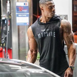 Muscleguys Marka Halter Vücut Geliştirme Stringer Kapüşonlular Spor salonu kolsuz Hoodie Spor Tank Top Erkek Giyim Pamuk