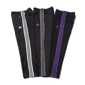 AGULHAS 3 cores Moda Sweatpants borboleta bordado Side Stripe calças dos homens mulheres longas com cordão Calças High Street