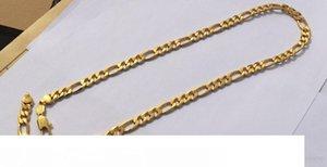 Sólido Stamep 585 Hallmarked 24 k amarillo Fine Gold Filled Cadena Europa Figaro Enlace collar de longitudes de 8 mm italiana Enlace 60cm