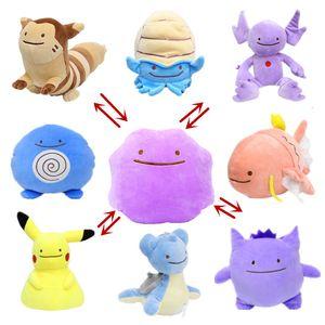 25cm Anime Taschen Animasl Ditto Kissen-Kissen-Übertragung Snorlax Squirtle Bulbasaur füllte Plüsch-Puppe-Spielzeug-Geschenk