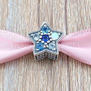 Auténticos 925 encantos encanto de la estrella de plata esterlina cuentas brillantes se adapta al estilo europeo joyería de Pandora collar de las pulseras 796379NSBMX