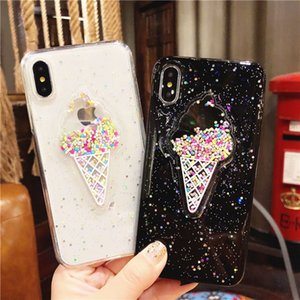 3D Dondurma TPU Telefon Kılıfı Kapak glitter telefon Kılıfları Gökkuşağı Pul TPU kapak iphone 7 8 ARTı XR X MAX