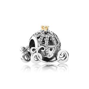 Delicada e elegante abóbora carro charme autêntico prata 925 com diamantes CZ adequados para Pandora pulseira de contas DIY presente senhoras