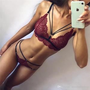 Mulheres Sexy Underwear Set pedaço Moda oco Out profunda V Neck Dois com roupa interior da fita Womens