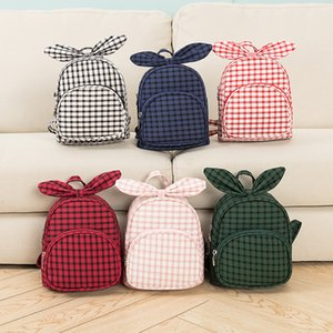 5styles kids plaid bowknot backpack rabbit ear checkered student school bag travel party outdoor phone children's day gift bags FFA2049