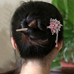 Classic Retro Hair Sticks Rose Flower Crystal Rhinestone Peacock Hairpins Tassel Butterfly Hair Accessory Fashion Jewelry