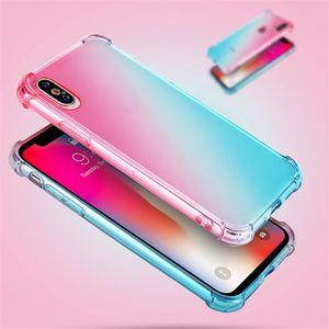 Радужные телефон Случаи Градиент цвета Анти противоударный Подушка мягкая TPU Clear Охватывает Прозрачный Четыре угла Назад Чехлы для iPhone XS MAX 8 Plus