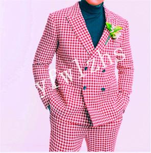 Handsome Double-Breasted Groomsmen Peak Lapel Groom Tuxedos Mens Wedding Dress Man Jacket Blazer Prom Dinner suits (Jacket+Pants+Tie)W94