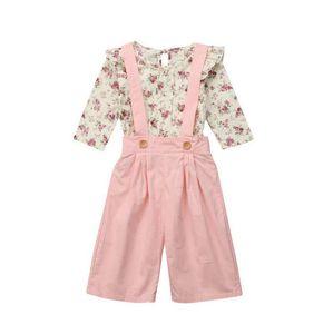 Ropa de diseñador para niños, niñas, trajes florales, niños, tops de flores, pantalones de tiras, 2 unids / set 2019 Primavera Otoño, trajes de ropa de bebé, conjuntos C6720