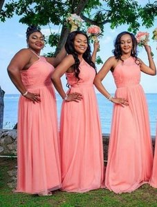 Water Melon One Shoulder Plus Size Bridesmaid Dresses Ruched Chiffon Sash Floor Length Maid of Honor Gown Long Prom Dress