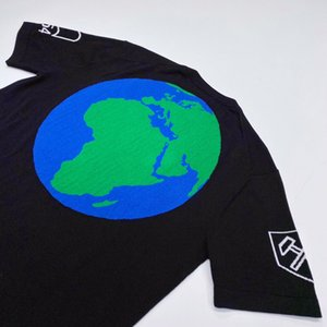 19FW Örme Yün Blend kintting tişört Dünya Barkod Geometrik Desenler Moda Tee Günlük Sade tişört Yeni Stil HFYMTX617