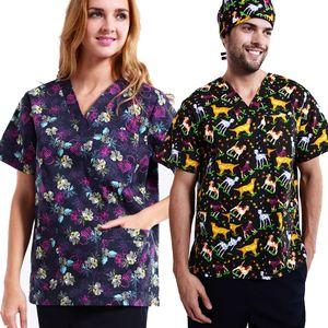 Plus Size Women Men Medical Clothing Cartoon Dog Nursing Uniform Tops Dental Clinic Hospital Work Wear Scrubs Top Shirt
