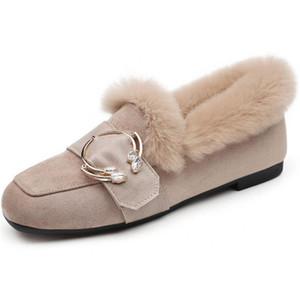 Mulheres Crystal Fur neve Botas Couro Plush Flats quentes derrapante sapatos Inverno Além disso Fur Mulher Mocassins na camurça Botas