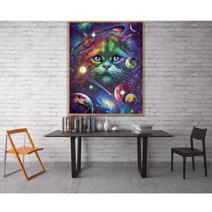 wholesale 5D Colorful Rainbow Cat Space Galaxy Planet Globe Full Diamond Painting kits art Animal 3D paint by diamonds