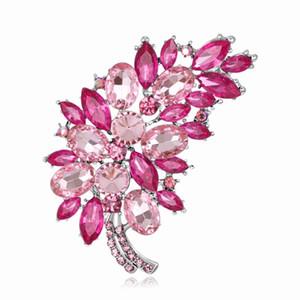 Tamanho grande Acessórios de cristal completo Pequeno cluster de flor folha brocas de roxo para mulheres Bouquets de casamento de ouro cor brocharia