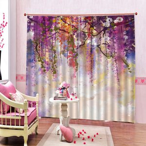 Custom Modern Colorful willow leaves oil painting Window Curtains Flower Photo Print For Living room Bedroom Blackout Drapes Sets