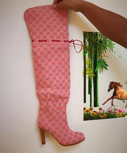 Mulheres de marca Hibiscus Vermelho Bege Lona Sobre-o-joelho Bota Moda Menina de Couro 7.5 cm de Salto Alto Coxa-Alta Botas