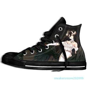 Imagem Personalizada Impressão Sneakers Chegada Popular Anime Overlord II Men / Harajuku Estilo Plimsolls lona respirável Walking Plano s06