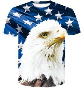 Top University Formation USA lettre couleur star 3D drapeau américain imprimé manches courtes mode masculine T-shirt vêtements Casual vêtements amples vêtements
