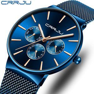 reloj hombre CRRJU Homens Azul Relógios Chronograph Fina Data Watch Moda Ultra pulso por Homens Masculino malha Strap Casual relógio de quartzo