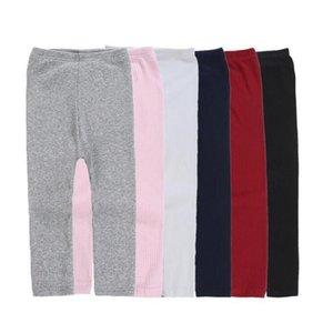 Девушки Candy Color Stretch Pants Трикотажное Bottom носки гетры Детские колготки Твердая Середина талии Теплый хлопка моды брюки Одежда для новорожденных D6380