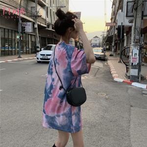 Tops New Women T Shirt Color Contrast tingido laço do arco-íris mangas curtas T-shirt gola solta femininos de verão