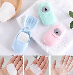 Viaggio Mini sapone profumato bagno bambino lavaggio a mano Tubo di carta sapone petalo portatile frutta disinfezione carta sapone 50 pz / scatola DHL