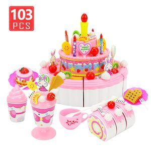 39-103 Stücke Cartoon Geburtstagstorte Pretend Play Küche Spielzeug Obst Schneiden Sets Spielhaus Spielzeug für Kinder Simulation Lebensmittel Mädchen