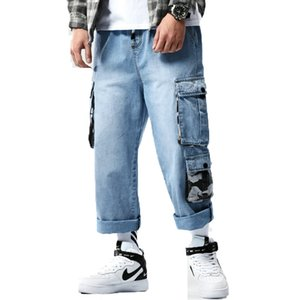 Mens Denim Cargo Pants 2020 Men Baggy Blue Jeans Side Pockets Biker Jeans Men Hip Hop Ankle-Length Pants Male Joggers Trousers