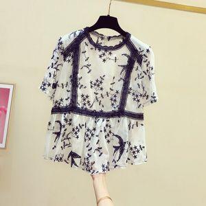 vintage embrpidery women blouse 2020 summer new short-sleeved loose lady elegant pulls outwear coat tops