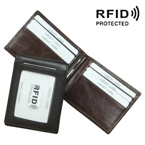 RFID Blocking Genuine Leather Short Wallet Fold Over Purses Women Men Card Holder Banknote Pocket Cowhide Wallet Money Clipper Purse