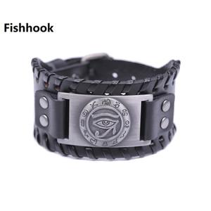 Fishhook Kör dropshipping Cadılık Nazar kovmak Evil Spirits ve Sen Erkek Siyah / Kahverengi Deri Bileklik için Good Luck