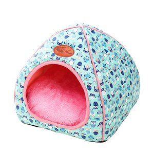 Cat Bed Winter House For Cats Warm Bed For Small Dogs Foldable Puppy Kennel Cute Cat Panier With Matress Cat House Drop Shipping