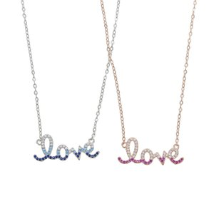 new arrived custom letter name pednant charm neckalce with silver gold color colorful cz charm love letter necklace