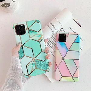 Мода Блестящий Electroplated противоударный водонепроницаемый Сублимация Мраморные Pc Девчушки Роскошная телефон Случаи Iphone X XS Pro Max 11