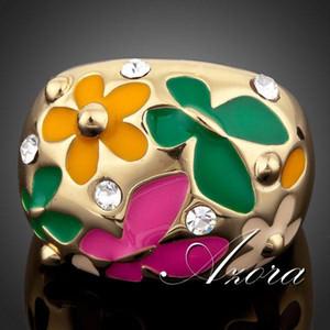 Flor plateado mayor-AZORA oro verdadero 18K y la mariposa pintura al óleo TR0053 la cadencia del timbre