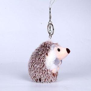 2020 Cute Fluffy Hedgehog Keychain Women Trinket Genuine Pompom Key Ring Toy key chains Doll Bag Charms Car Holder