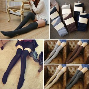 1 par Womens meias inverno quente Coxa alta sobre o joelho Socks Meias longo Cotton Leggings meias listradas cor sólida