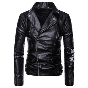 AOWOFS Men Motorcycle Coats Jaket Men Deri Mont Ceket Spring Leather Jacket Letter Print Leather Biker Jacket Plus Size 5XL