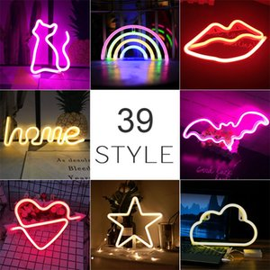Oda Ev Partisi Düğün Dekorasyon Noel Hediye neon lambası için toptan 39 Stiller Led Neon Renkli Gökkuşağı Neon Burcu