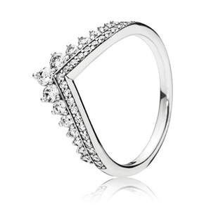 Trendy Echtes 925 Sterling Silber Schimmernde Prinzessin Wishbone Ring Für Frauen Hochzeit Verlobungsfeier Pandora Schmuck Geschenk