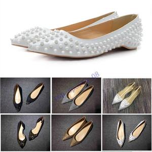 19hot Satış Glitter Kırmızı Alt Çivili Düz Ayakkabı Kadınlar Kırmızı Taban Ayakkabı Sequins Topuklu Parti Düğün Ayakkabı Sivri Burun Pompaları 35-42