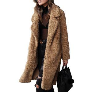 Зима Женщины Длинные пальто моды Кардиган Плюшевые отворотом шеи шерсти пальто вскользь сплошной цвет женщин Верхняя одежда