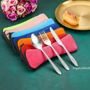 3Pcs set Portable Stainless Steel Cutlery Set Dinner Tableware Set with Pouch Flower Painting Fork Tableware Case Kit For Camping