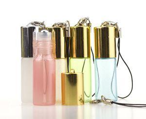 5ml Pendentif de Perles Couleur Rollon Bouteille Roller en Métal Huile Essentielle vide parfum en verre Fioles Porte-clés Bouteilles en verre Roller DHL