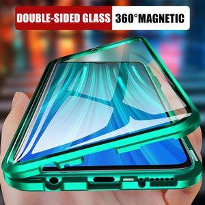 Métal double face magnétique verre Téléphone cas pour Xiaomi redmi 8 8A Note 8 7 K20 Phone Pro Cover Pour Mi 9 9T CC9e 6X 9 e de Flip Case