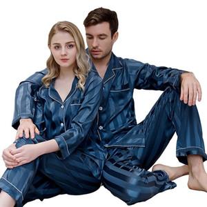 Mens Womens New Arrival Sleepwears Fina Close-montagem Suits Stain Silk Pijamas Set Início Cardigan listrado manga comprida Pijama